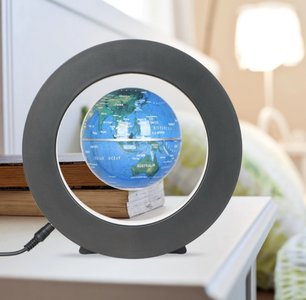 Zwevende wereldbol ø 9 cm met Rond-frame